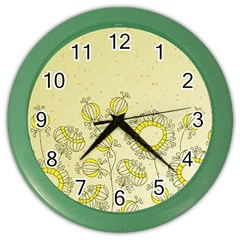 Sunflower Fly Flower Floral Color Wall Clocks by Mariart