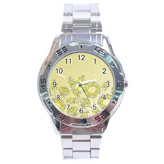 Sunflower Fly Flower Floral Stainless Steel Analogue Watch by Mariart