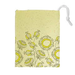 Sunflower Fly Flower Floral Drawstring Pouches (extra Large) by Mariart