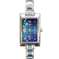 Flower Blue Floral Sunflower Star Polka Dots Sexy Rectangle Italian Charm Watch by Mariart