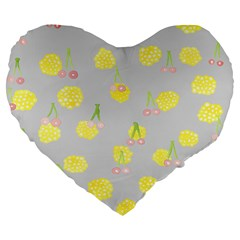 Cute Fruit Cerry Yellow Green Pink Large 19  Premium Heart Shape Cushions by Mariart