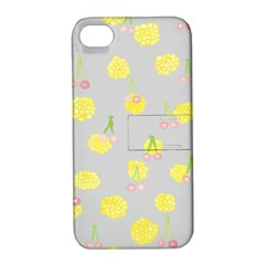Cute Fruit Cerry Yellow Green Pink Apple Iphone 4/4s Hardshell Case With Stand by Mariart