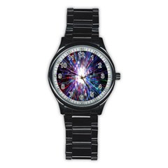 Seamless Animation Of Abstract Colorful Laser Light And Fireworks Rainbow Stainless Steel Round Watch by Mariart
