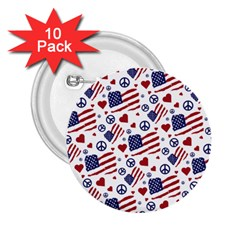 Peace Love America Icreate 2 25  Buttons (10 Pack)  by iCreate