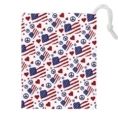 Peace Love America Icreate Drawstring Pouches (xxl) by iCreate