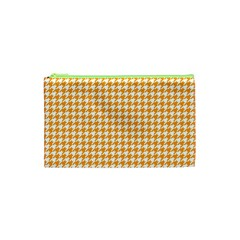 Friendly Houndstooth Pattern, Orange Cosmetic Bag (xs) by MoreColorsinLife