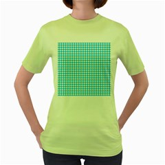 Friendly Houndstooth Pattern,aqua Women s Green T Shirt by MoreColorsinLife