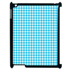 Friendly Houndstooth Pattern,aqua Apple Ipad 2 Case (black) by MoreColorsinLife