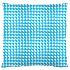 Friendly Houndstooth Pattern,aqua Large Cushion Case (one Side) by MoreColorsinLife