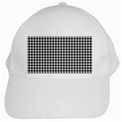 Friendly Houndstooth Pattern,black And White White Cap by MoreColorsinLife