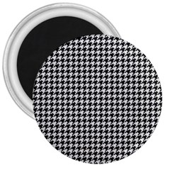 Friendly Houndstooth Pattern,black And White 3  Magnets by MoreColorsinLife