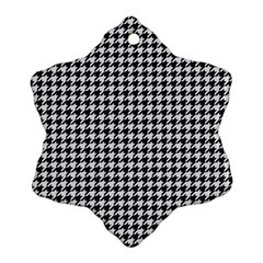 Friendly Houndstooth Pattern,black And White Snowflake Ornament (two Sides) by MoreColorsinLife