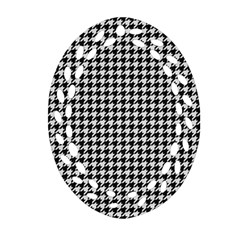 Friendly Houndstooth Pattern,black And White Ornament (oval Filigree) by MoreColorsinLife