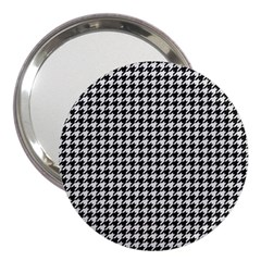 Friendly Houndstooth Pattern,black And White 3  Handbag Mirrors by MoreColorsinLife