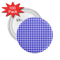 Friendly Houndstooth Pattern,blue 2 25  Buttons (100 Pack)  by MoreColorsinLife