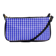 Friendly Houndstooth Pattern,blue Shoulder Clutch Bags by MoreColorsinLife