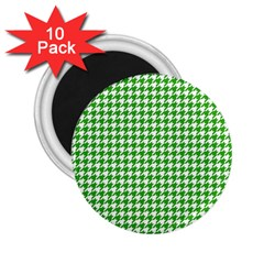 Friendly Houndstooth Pattern,green 2 25  Magnets (10 Pack)  by MoreColorsinLife