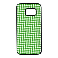 Friendly Houndstooth Pattern,green Samsung Galaxy S7 Black Seamless Case by MoreColorsinLife