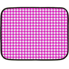 Friendly Houndstooth Pattern,pink Double Sided Fleece Blanket (mini)  by MoreColorsinLife