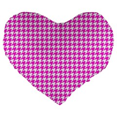 Friendly Houndstooth Pattern,pink Large 19  Premium Flano Heart Shape Cushions by MoreColorsinLife