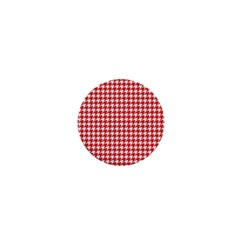Friendly Houndstooth Pattern,red 1  Mini Buttons by MoreColorsinLife