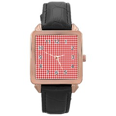 Friendly Houndstooth Pattern,red Rose Gold Leather Watch  by MoreColorsinLife