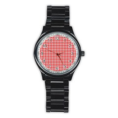 Friendly Houndstooth Pattern,red Stainless Steel Round Watch by MoreColorsinLife