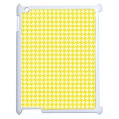 Friendly Houndstooth Pattern,yellow Apple Ipad 2 Case (white) by MoreColorsinLife