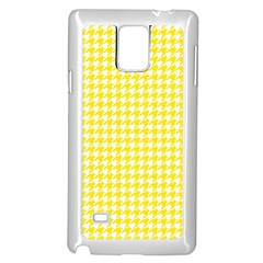 Friendly Houndstooth Pattern,yellow Samsung Galaxy Note 4 Case (white) by MoreColorsinLife