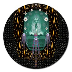 Temple Of Yoga In Light Peace And Human Namaste Style Magnet 5  (round) by pepitasart
