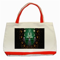Temple Of Yoga In Light Peace And Human Namaste Style Classic Tote Bag (red) by pepitasart