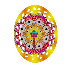 Fantasy Flower In Tones Oval Filigree Ornament (two Sides) by pepitasart