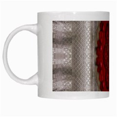 Strawberry  With Waffles And Fantasy Flowers In Harmony White Mugs by pepitasart