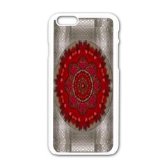 Strawberry  With Waffles And Fantasy Flowers In Harmony Apple Iphone 6/6s White Enamel Case by pepitasart