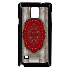Strawberry  With Waffles And Fantasy Flowers In Harmony Samsung Galaxy Note 4 Case (black) by pepitasart