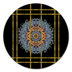 Blue Bloom Golden And Metal Magnet 5  (round) by pepitasart