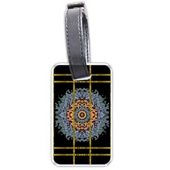 Blue Bloom Golden And Metal Luggage Tags (two Sides) by pepitasart
