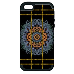 Blue Bloom Golden And Metal Apple Iphone 5 Hardshell Case (pc+silicone) by pepitasart
