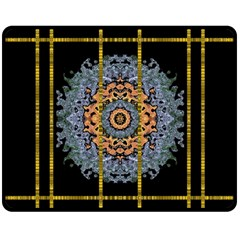 Blue Bloom Golden And Metal Double Sided Fleece Blanket (medium)  by pepitasart