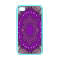 Fantasy Flowers In Harmony  In Lilac Apple Iphone 4 Case (color) by pepitasart
