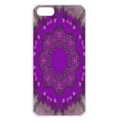 Fantasy Flowers In Harmony  In Lilac Apple Iphone 5 Seamless Case (white) by pepitasart