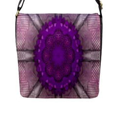 Fantasy Flowers In Harmony  In Lilac Flap Messenger Bag (l)  by pepitasart