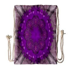 Fantasy Flowers In Harmony  In Lilac Drawstring Bag (large) by pepitasart