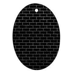 Brick1 Black Marble & Gray Ornament (oval) by trendistuff