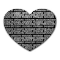 Brick1 Black Marble & Gray Leather (r) Heart Mousepads by trendistuff