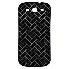 Brick2 Black Marble & Gray Leather Samsung Galaxy S3 S Iii Classic Hardshell Back Case by trendistuff