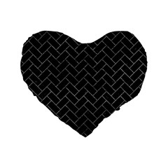 Brick2 Black Marble & Gray Leather Standard 16  Premium Flano Heart Shape Cushions by trendistuff