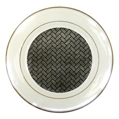Brick2 Black Marble & Gray Leather (r) Porcelain Plates by trendistuff