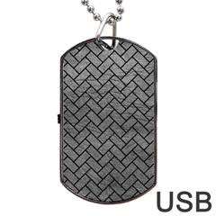 Brick2 Black Marble & Gray Leather (r) Dog Tag Usb Flash (one Side) by trendistuff