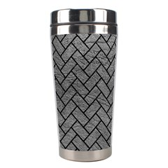 Brick2 Black Marble & Gray Leather (r) Stainless Steel Travel Tumblers by trendistuff